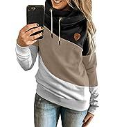 BLENCOT Women Casual Hoodies Cowl Neck Long Sleeve Color Block Fleece Hooded Pullover Drawstring ...