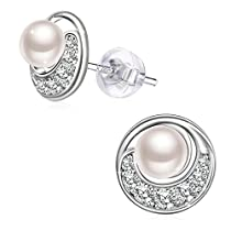 Mothers Day Gift Earrings, 925 Sterling Silver 3A Cubic Zirconia Freshwater Cultured Pearl Earrings J.Rosée Fine Jewelry for Women spindrift