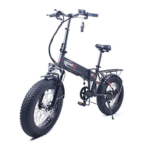 ENGWE EP-2 Beach Fat Tire Electric Bike - Foldable 20-inch Wheels Off-Road eBike with Power Assist, Rear Shelf and Shimano 6-Speed Gear Shifts (Black350W)