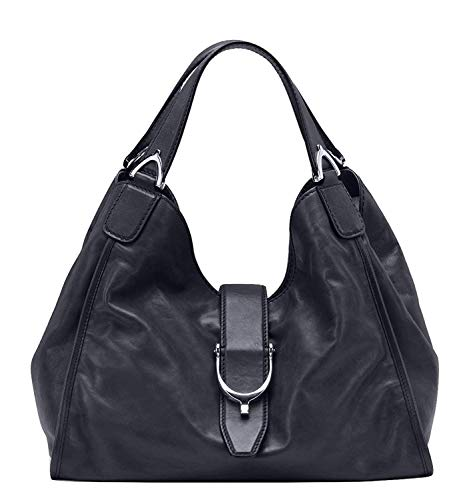 (Gucci Stirrup Black Washed Soft Calf Leather Medium Hobo Bag 296856 1000)