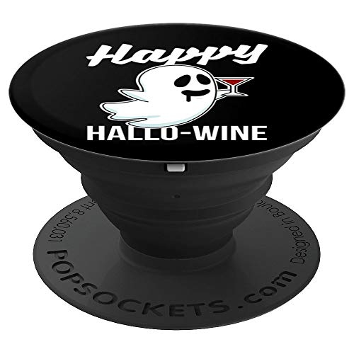 (Happy Hallo-Wine Scary Halloween Wine Drinking Ghost Funny - PopSockets Grip and Stand for Phones and)