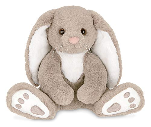 Bearington Boomer Plush Taupe and White Bunny Stuffed Animal, 10.5 inches]()