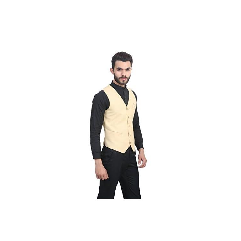 41aNdlBzZJL. SS768  - MANQ Men's V.Neck Five Button Slim Fit Party/Casual Waist Coat - 5 Colors