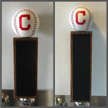 Baseball Display Indians Cleveland (Cleveland Indians Baseball Chalkboard Tap Handle (9
