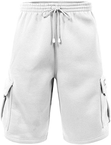 (J. LOVNY Mens Light Comfy Fit Summer Drawstring Fleece Cargo Sweatshorts JLMP07-WHITE-L)