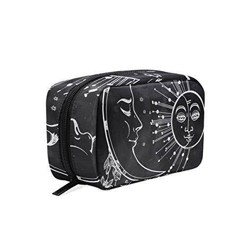 Makeup Bag Abstract Moon With Flowers And Sun Cosmetic Pouch Clutch ()