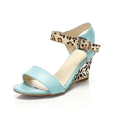 Allhqfashion Para Mujer Suave Material Hook-and-loop Open Toe Tacones Altos Assorted Colors Sandals Blue