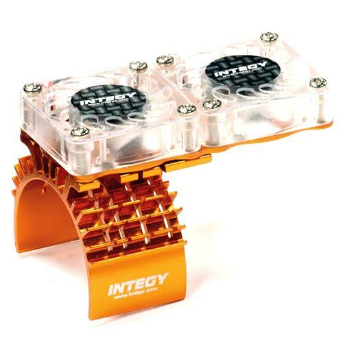 - Integy RC Model Hop-ups T8534ORANGE Motor Heatsink + Twin Cooling Fan for Traxxas 1/10 Slash 4X4 (6808)