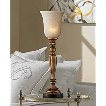 Traditional Uplight Table Lamp Florentine Bronze Fluted