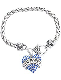 Air Force Blue Crystals Silver Chain Lobster Claw Bracelet