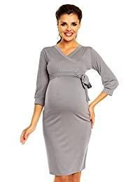 Zeta Ville Womens Maternity Wrap Dress Nursing V-neck Belt Empire Waist - 251c