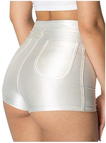 Sugar Pocket Women's Shorts High Waisted Hot Pants Small (White) (White Hot Pants)