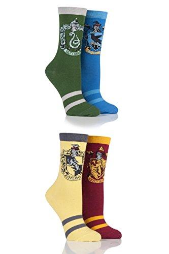 Ladies 4 Pair Harry Potter House Badges Socks Assorted 4-8 Ladies