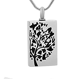 Cylinder Tablet Cremation Urn Pendant Memorial Jewelry for Ashes Locket Tree of Life Necklace +Free 20 Inch Chian& fill kit