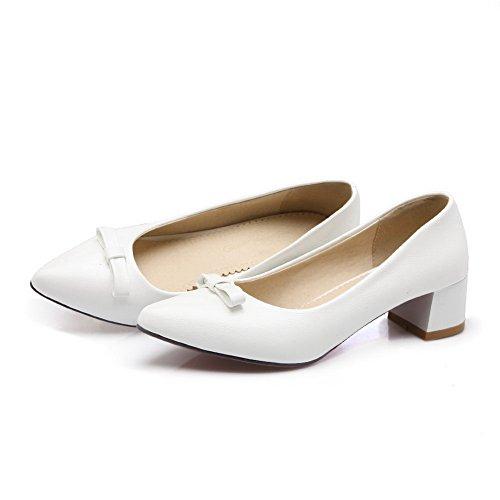 Pumps Patent Womens Shoes Spun Chunky BalaMasa Leather Bowknot White Gold Heels 8w4wYqx