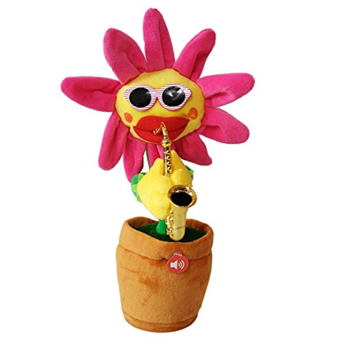 - Unpara Enchanting Plush Funny Toy 60 Songs Singing and Dancing Sunflower With Saxophone Interesting Electric Toy (red)