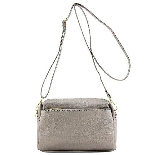 (Triple Zip Small Crossbody Bag (Pewter))