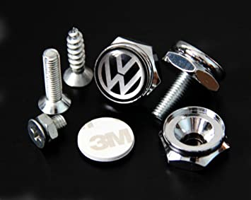 Logo Cap Cover Metal Screw Bolts Nuts Anti-Theft Universal Car Truck Accessories fit for Volkswagen VW 4PCS//Set License Plate Frame Screw Bolts