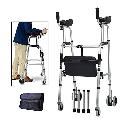 - Standard Walkers Elderly People Foldable Walker Adjustable Walking Assist Equipped with Arm Rest Pad & Brakes,Suitable for The Limited Mobility with Disabled,d