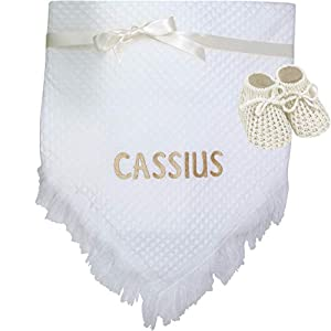 Personalised White and Gold Baby Shawl Blanket and Booties