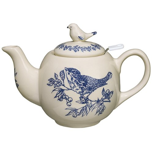 Sadek 7 Inch Round Bird Toile Teapot with Stainer