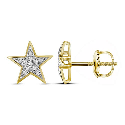 Jewels By Lux 10kt Yellow Gold Womens Round Diamond Star Cluster Screwback Earrings 1/20 Cttw In Prong Setting (I2-I3 clarity; J-K color)