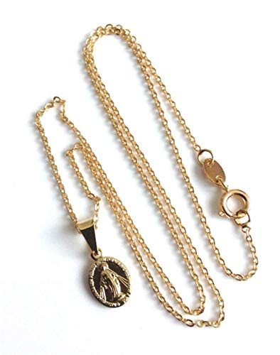18K Gold Plated Miraculous Medal Necklaces for Women Petite Lady of Grace Pendant Chain