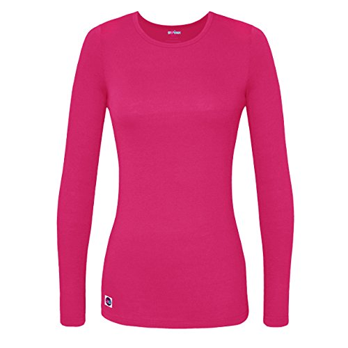Sivvan Women's Comfort Long Sleeve T-Shirt / Underscrub Tee - S8500 - Fuchsia - XL (Ladies Long Sleeve Crew Neck T Shirts)