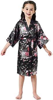 Aibrou Girls' Satin Floral Kimono Robe Nightgown Bathrobe for Wedding P