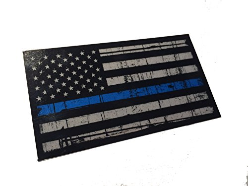 (Tattered 3M Reflective Thin Blue Line 3.5 X 2 Decal Sticker United States Us Flag Tactical Police Law Enforcement)