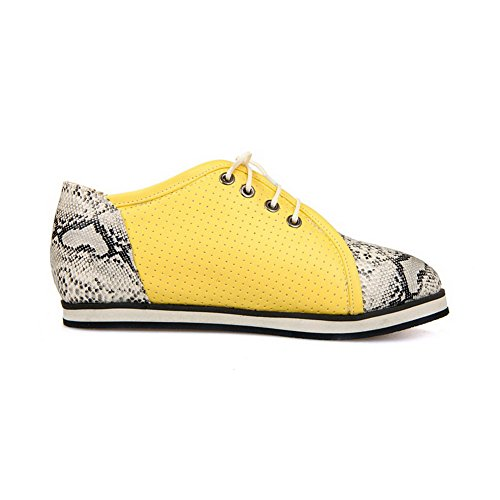 Allhqfashion Mujeres Low Heels Assorted Color Lace Up Soft Material Punta Redonda Bombas-zapatos Amarillo