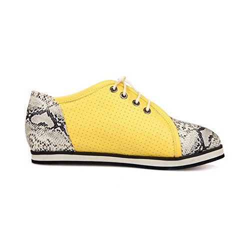 Allhqfashion Donna Tacco Basso Assortiti Colore Pizzo Materiale Morbido Punta Tonda Scarpe-scarpe Giallo