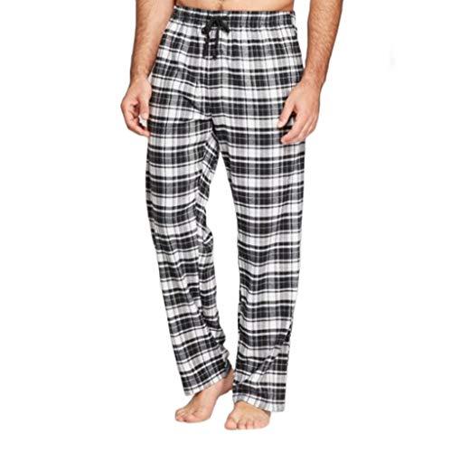 - Hanes Men's 100% Cotton Flannel Plaid Pajama Pant, Black/White Large