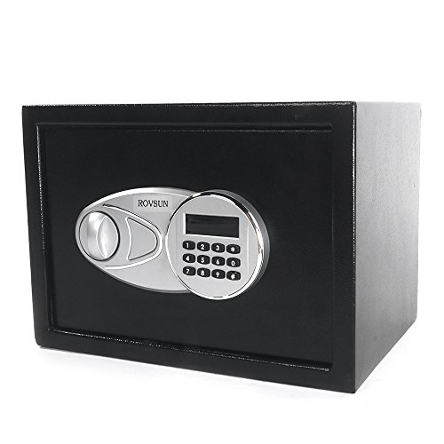 0.5' Cabinet Hinge (ROVSUN Digital Security Safe Box 0.5 Cubic Feet Electronic Cabinet with Combination Lock&Solid Steel Construction,Great for Home Office Hotel Business Jewelry Money Passport(Included Battery))