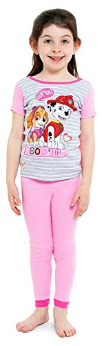 Nickelodeon Girls' Little Paw Patrol 4-Piece Cotton Pajama Set, Cutie-pup Pink, 6 -