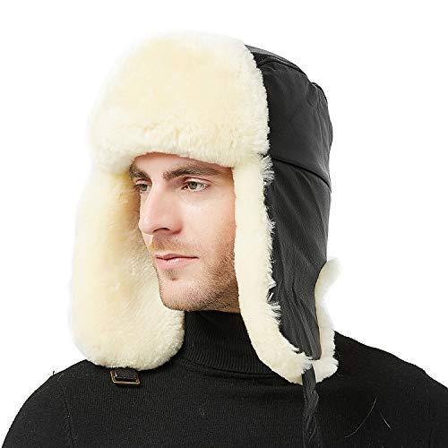 (IKEPOD Shearling Sheepskin Sheep Leather Aviator Russian Winter Fur Men Trapper Hat)