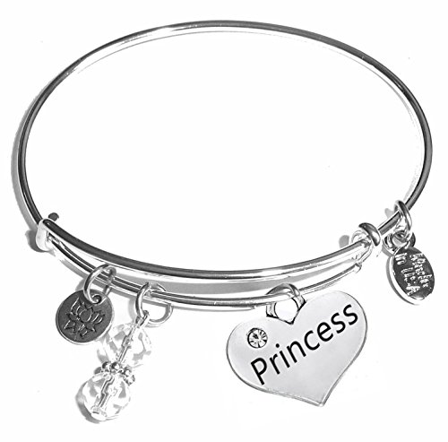 Princess Bangle - Message Charm (46 words to choose from) Expandable Wire Bangle Bracelet, in the popular style, COMES IN A GIFT BOX! (Princess)