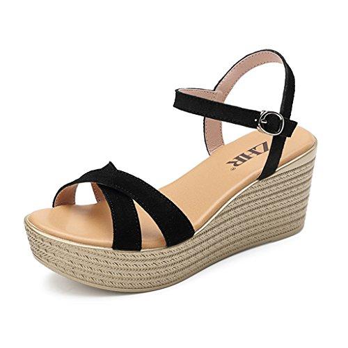 KaiGangHome Escarpins Chaussure plateforme d'été à talon plat avec des sandales boucle à talon haut avec des chaussures à plateforme avec une hauteur de 7cm (Color : Gray, Size : 34) Black