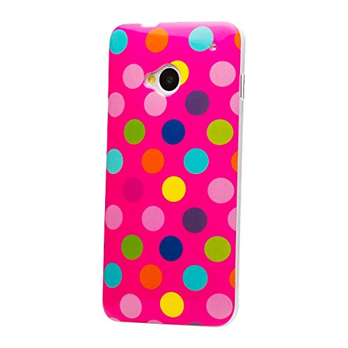 iCues | Compatible with HTC One M7 | Polka Dot Case Pink/multi-coloured | [Screen Protector Included] Durable Fashion Shell Cute Glossy Cover TPU Pattern Women Girl