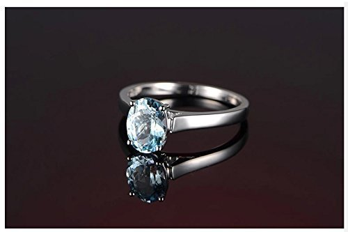 Solid 18k white gold promise ring,1.2ct Oval Natural VVS blue Aquamarine,solitaire engagement ring,pave set ()