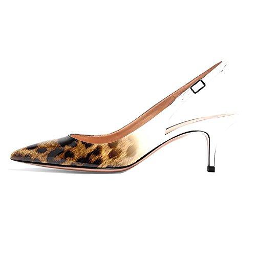 chiusa Donna EKS tacco col Scarpe Leopard punta Wei qHrwqg