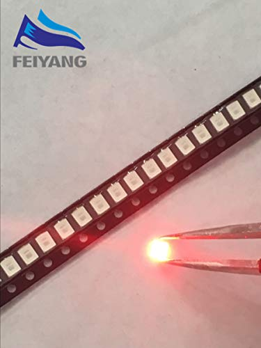Value-Trade-Inc - 100PCS 12-20LM 2835 Red SMD LED 0.2W high bright light emitting diode chip leds 620-625NM PLCC-2 60Ma SMD/SMT 3528 Red