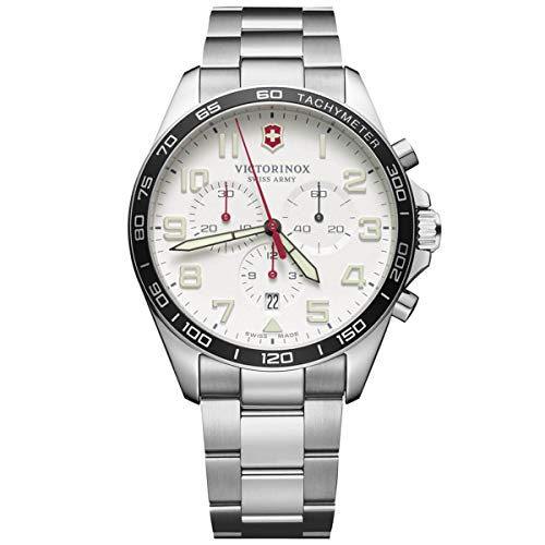 Victorinox Men's Swiss Quartz Watch with Stainless Steel Strap, Silver, 21 (Model: 241856)
