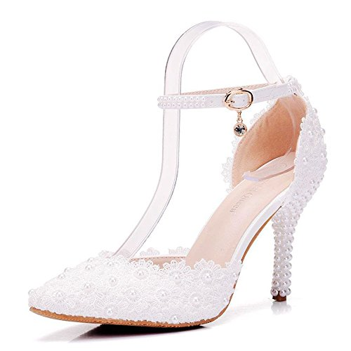 Chaussures Polyuréthane Printemps Confort Nouveauté en Mariage Bout Aiguille Perle RSF Femme Talon Shoes White de Wedding Pointu Fleur Satin Chaussures Automne BgWzqSC