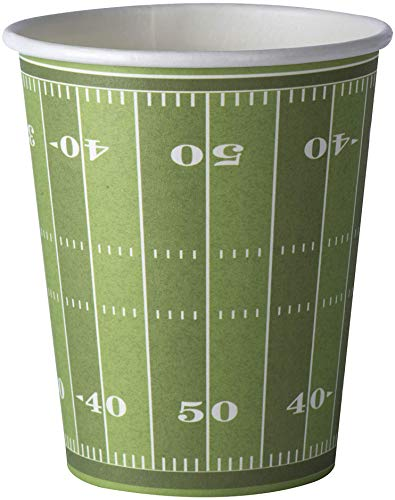 (Football Themed 9 Oz Disposable Paper Cups –Superbowl Party Supplies Ideal for Tailgate Parties, Family Dinner and Sports Event (50)