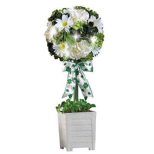 Shamrock Planter (Lighted St. Patrick Floral Irish Topiary with White Base and Shamrock Bow)