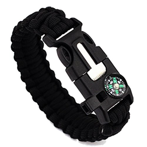 LEERYA 5in1 Outdoor rope Paracord Survival gear escape Bracelet Flint/Whistle/Compass (A)