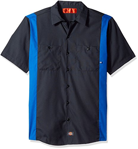 Dickies Occupational Workwear LS524CHRB Polyester/Cotton Mens Short Sleeve Industrial Color Block Shirt, Dark Charcoal/Royal Blue