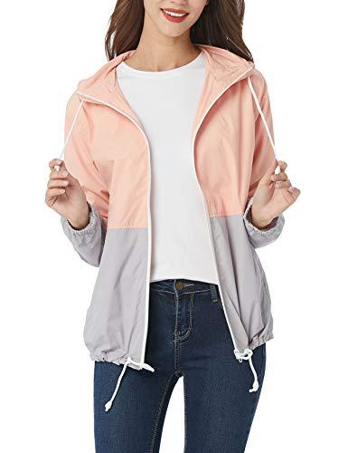 Aliamz Women's Plus Size Raincoat Rain Jacket with Lined Hooded Waterproof Jacket Coat Windbreaker Rainwear 16-24W Pink