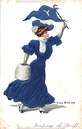 Yale College Girl Waving Pennant Silk Artist Signed Antique Postcard J75649